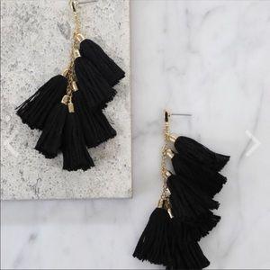 Ettika Gold Plated Black Tassel Drop Earrings